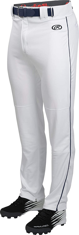 Rawlings ユース 起毛 パイピングパンツ B07DWLRNDW Large|ホワイト/ネイビー ホワイト/ネイビー Large