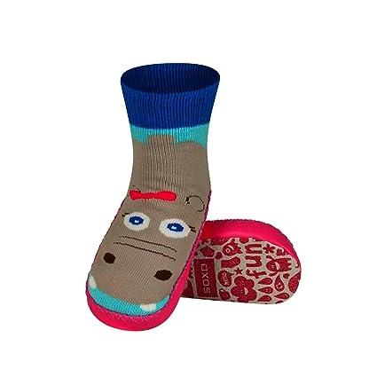 Hippo – Zapatillas Calcetines Niños suela antideslizante piel – bbkdom rosa Rose Talla:27-