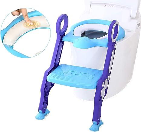 Aseo Escalera Asiento Escalera del Tocador de Niños Asiento para WC, 2 Escalones y Agarraderas Grandes, Antideslizante, Plegable, Altura Ajustable para 1-7 niños, Azul + Púrpura: Amazon.es: Bebé