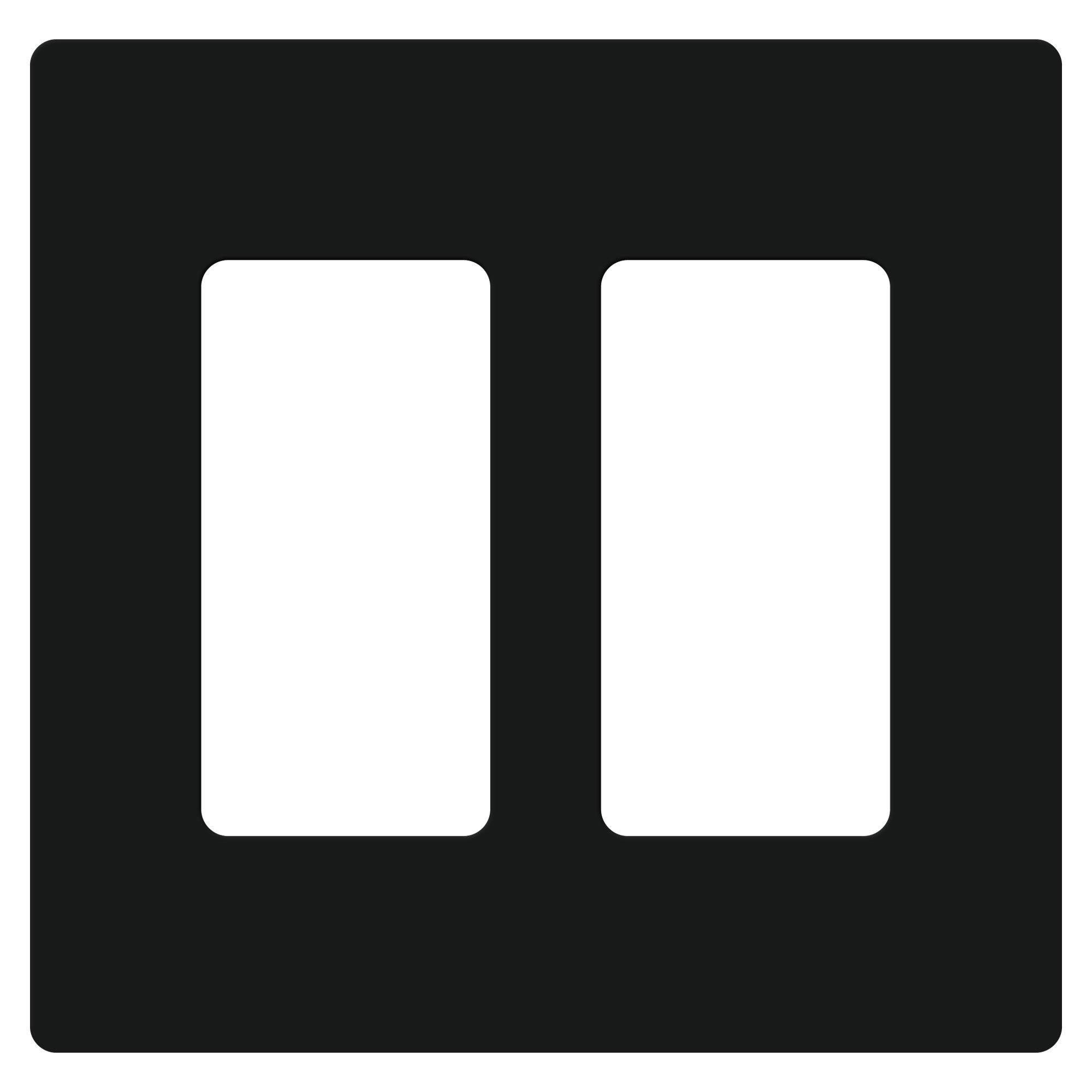 Lutron CW-2B-BL Claro Two Gang Rocker Wallplate, Black