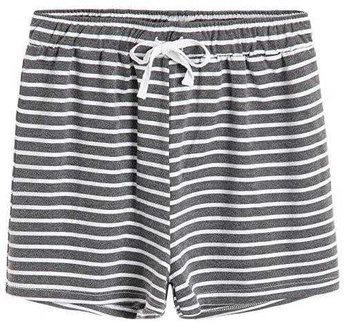 Cotton Pj Shorts (Latuza Women's Cotton Striped Pajama Shorts L Gray)