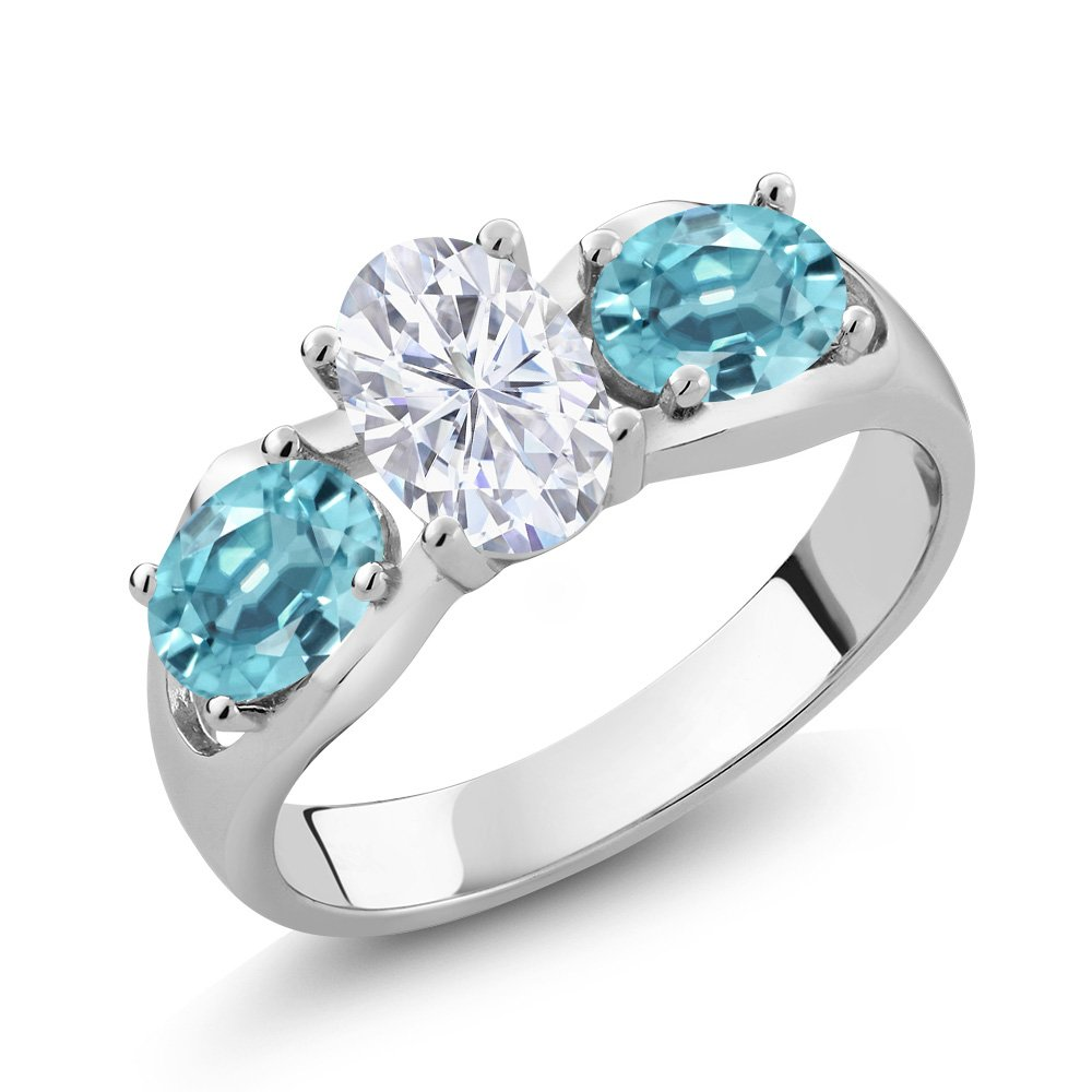 925 Sterling Silver 3-Stone Ring Forever One (GHI) Oval 0.90ct (DEW) Created Moissanite by Charles & Colvard and Zircon