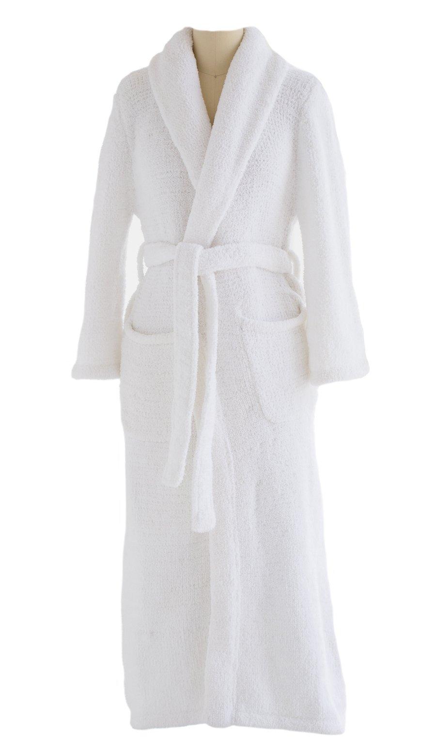 Plush Tresaro Chenille Bathrobe - Super-soft, Warm & Cozy Microfiber Robe Perfect for Women and Men - WHITE - Small/Medium