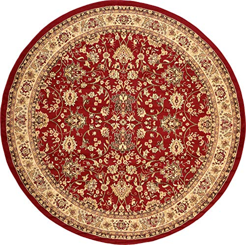 Unique Loom Kashan Collection Traditional Floral Overall Pattern with Border Burgundy Round Rug (8