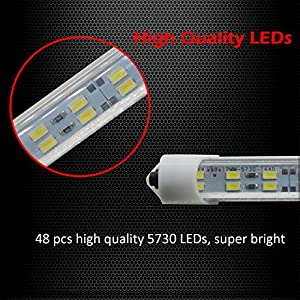 "Ampper 12V 48 LEDs Interior Light Bar, 14"" 9.6W Strip Light for Car Van RV Boat Trailers Lorries LWB and Home Indoor Use (With On/Off Switch, White, 4 Pcs)"