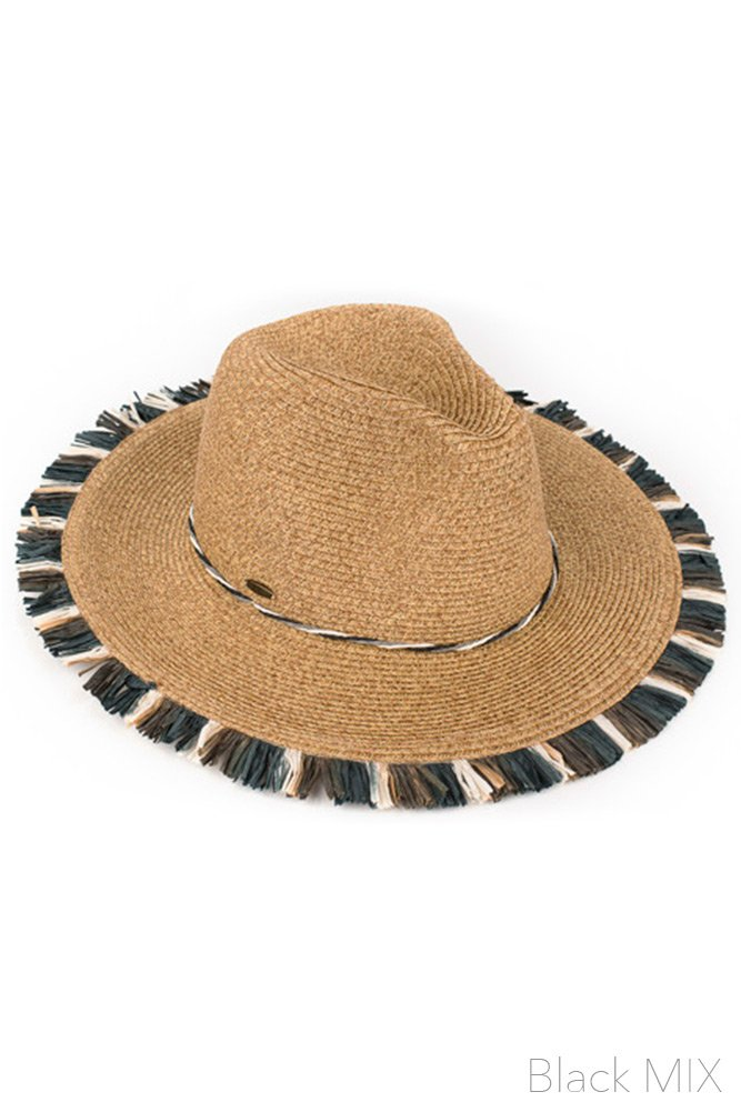 ScarvesMe C.C Multi Color Fringe Natural Spring Summer Straw Beach Wide Brim Sun Hat (Black Mix)