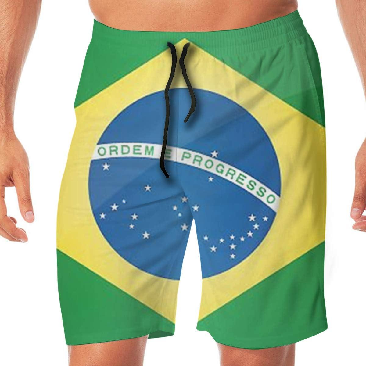 MaoYTUI Brazil Flag Mens Swim Trunks Boys Quick Dry Bathing Suits Drawstring Waist Beach Broad Shorts Swim Suit Beachwear with Mesh Lining