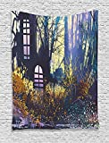 Fantasy Art House Decor Tapestry, Mystical House A in Tree Trunk with Windows Lost City Animation Print, Wall Hanging for Bedroom Living Room Dorm, 60 W x 80 L Inches, Multi