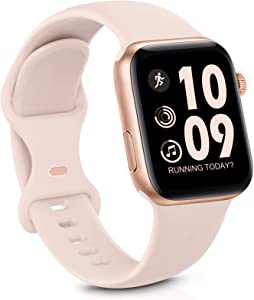 GeekSpark Sport Band Compatible with Apple Watch Band 38mm 40mm for Women Men, Soft Silicone Replacement Strap Band for iwatch SE/Series 6/5/4/3/2/1 Pink Sand 38mm/40mm S/M