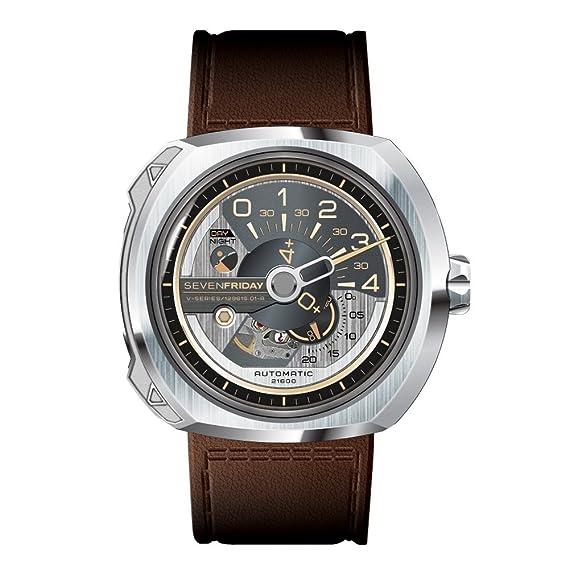 SEVEN FRIDAY V-SERIES RELOJ DE HOMBRE AUTOMÁTICO 50MM CORREA DE CUERO V2/01: Amazon.es: Relojes