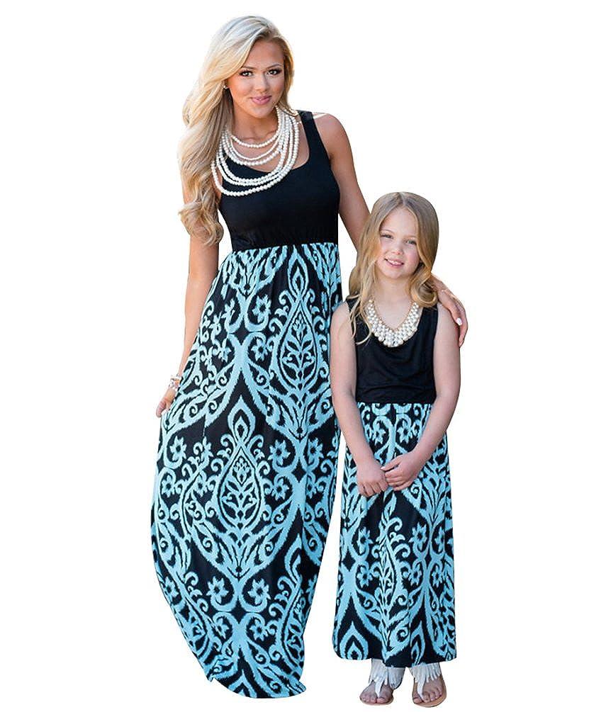 YOUJIA Boho M/ütter und Tochter Familie Sommerkleid Rundhals /Ärmellose Kleider MaxiKleid A Linie Strandkleid