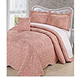 4 Piece Dusty Pink Oversized Damask Bedspread Set Queen, French Country Shabby Chic Floral Pattern Luxury Bedding, To The Floor Drapes Over Edge Scalloped Edges Extra Long, Microfiber Polyester