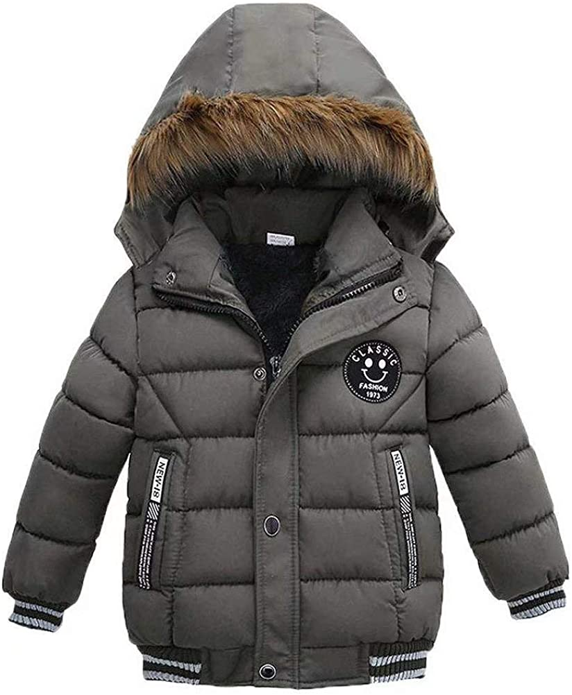 Baby Boys Winter Windproof Cotton Hooded Parka Jacket Down Jacket Childrens Warm Fur Collar Snowsuit Coat Puffer Coat