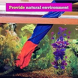 AQC Aquarium Decor   2 Pcs Artificial Aquarium Fish Tank Water Plant Decoration Ornament   Plastic with Ceramic Base   Non-Toxic Fade-Resistant   Vivid Purple Green Color   7.1 Inches   1411.2