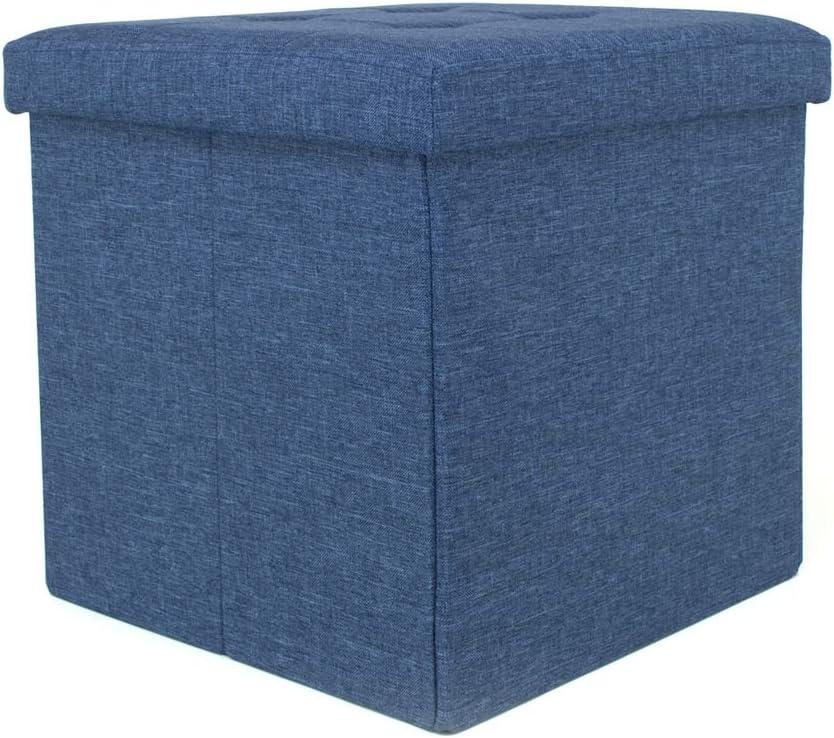 Pouf coffre rembourr/é pliable mod/èle Liner couleur bleu jeans