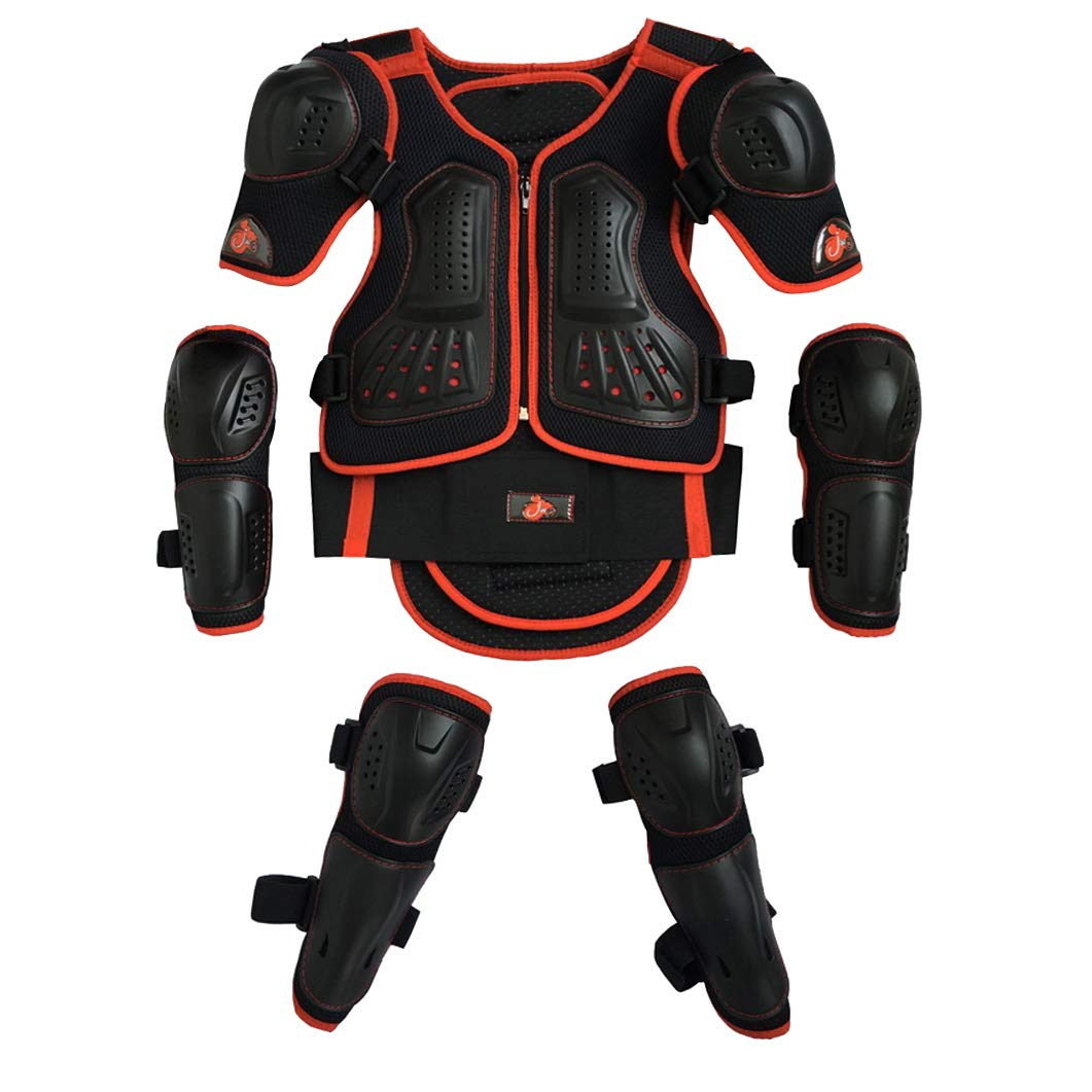 Tsieva Kids Protective Gear 5 in 1 Kids Armor Suit Vest Chest Dirt Bike Spine Protector Knee and Elbow Pads with Wrist Guards for Skating Cycling Bike Rollerblading Scooter