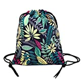 LIFEMATE Drawstring Bag Lightweight Gym Backpack for Hiking (Flowers in Dark Blue) Review