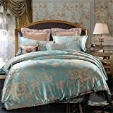 Set of 4 Cotton Satin Jacquard Royal Duvet Cover Bedding Set Queen/King For Adult Children Kids Teen Dorm Quilt Cover(220Cm×240Cm×1),Sheet(260Cm×245Cm×1),Pillowcases(48×74Cm×2) Wedding Thanksgiving Christmas Birthday Party Gift