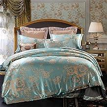 Set of 4 Cotton Satin Jacquard Royal Duvet Cover Bedding Set Queen/King For Adult Children Kids Teen Dorm Quilt Cover(220Cm×240Cm×1),Sheet(260Cm×245Cm×1),Pillowcases(48×74Cm×2) Wedding Thanksgiving Christmas Birthday Party Gift
