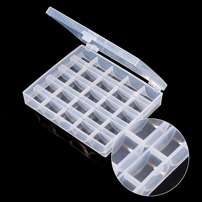 Kunststoff-N/ähmaschinen-Spulen mit Aufbewahrungs-Organizer f/ür Brother Core Box mit transparenten Spulen 25 St/ück Singer Janome