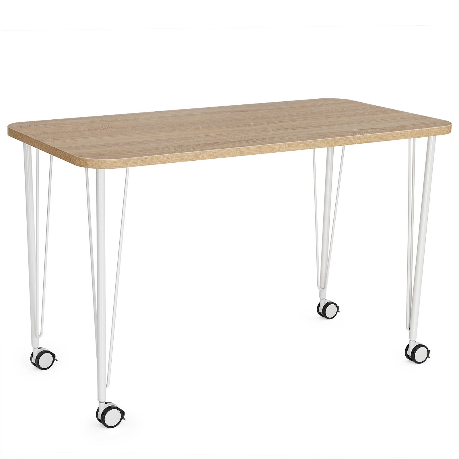 SONGMICS Computer Desk, Study Table, Mobile Dining Table, Easy Assmblely, for Home and Office, Walnut, ULWD15WN