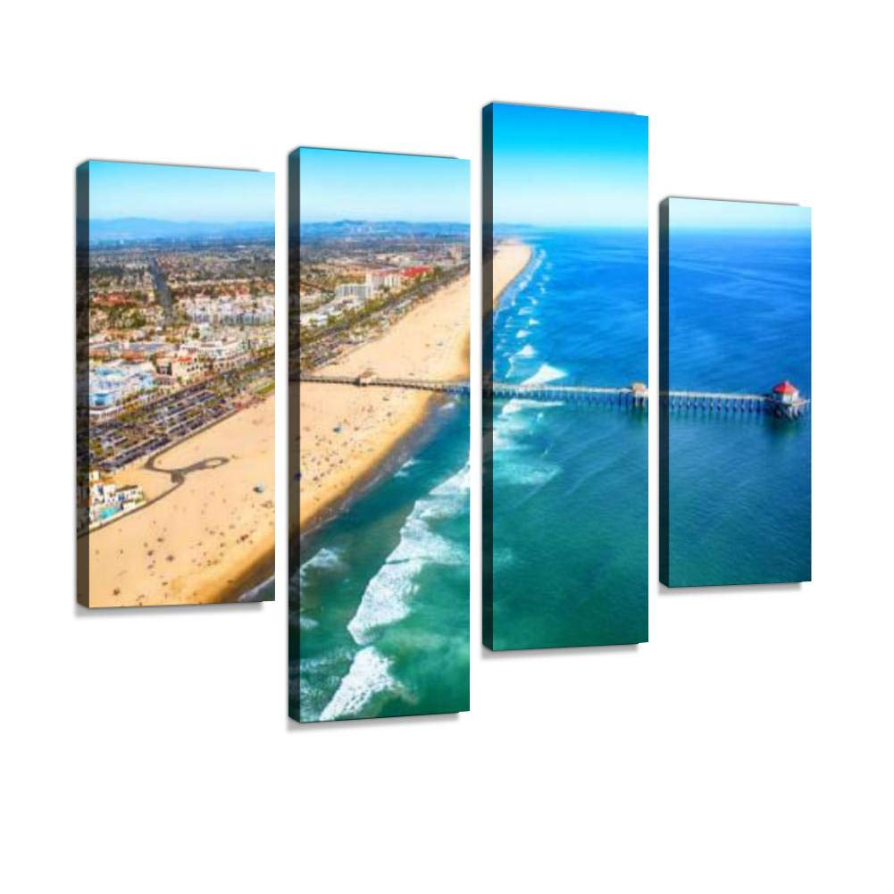 Huntington Beach California from Above Canvas Wall Art Hanging Paintings Modern Artwork Abstract Picture Prints Home Decoration Gift Unique Designed Framed 4 Panel