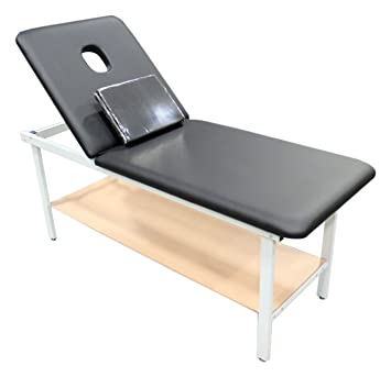 500lb Capacity Adjustable Back Physical Therapy Treatment Table With Face Cut Out Storage Shelf