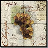Grapes by Louise Montillio - Wine Tumbled Marble Tile Mural 16'' x 16'' Kitchen Shower Backsplash