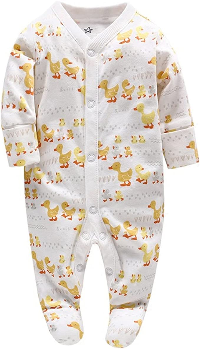 Infant Boy Girls Onesie Romper Baby Cute Duck Pattern Long Sleeve Snowsuit