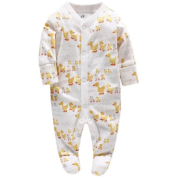 JiAmy Bebé Pijama Niños Niñas Mamelucos de Algodón Peleles Monos de Manga Larga 0-3