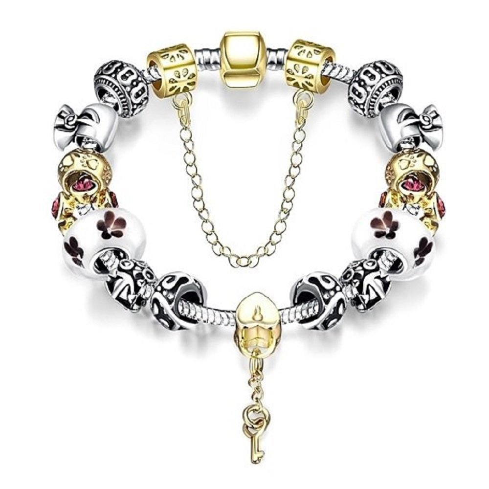 Pandora Inspired Charm Bracelet for Women & Teen Girls with Crystal & Glass Beads, Silver Plated Link, Gold Platted Heart Shaped Lock & Key Charm Mother's Day Gifts for Women