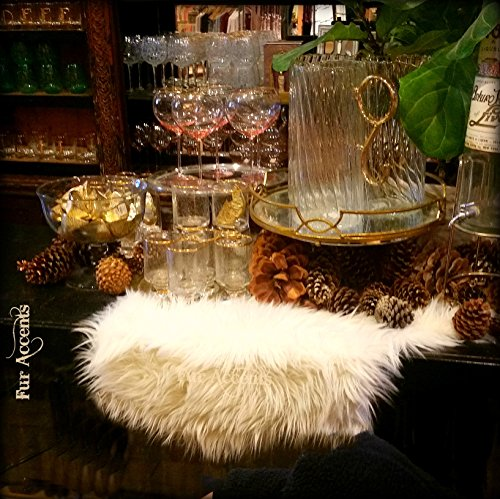 Classic Shag Fur Table Runner /Snow White / Dresser Scarf / Contemporary Decor / Doily / Shaggy Sheepskin Faux Fur (16' Doily Light)