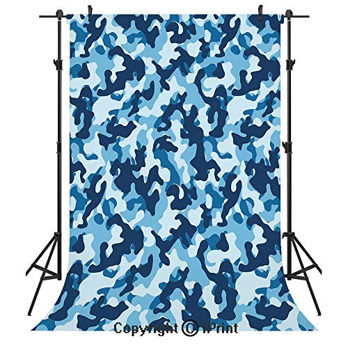 Camouflage Photography Backdrops,Military Infantry Marine Troops Costume Pattern Vibrant Color Palette Surreal Decorative,Birthday Party Seamless Photo Studio Booth Background Banner 3x5ft,Blue Coconu