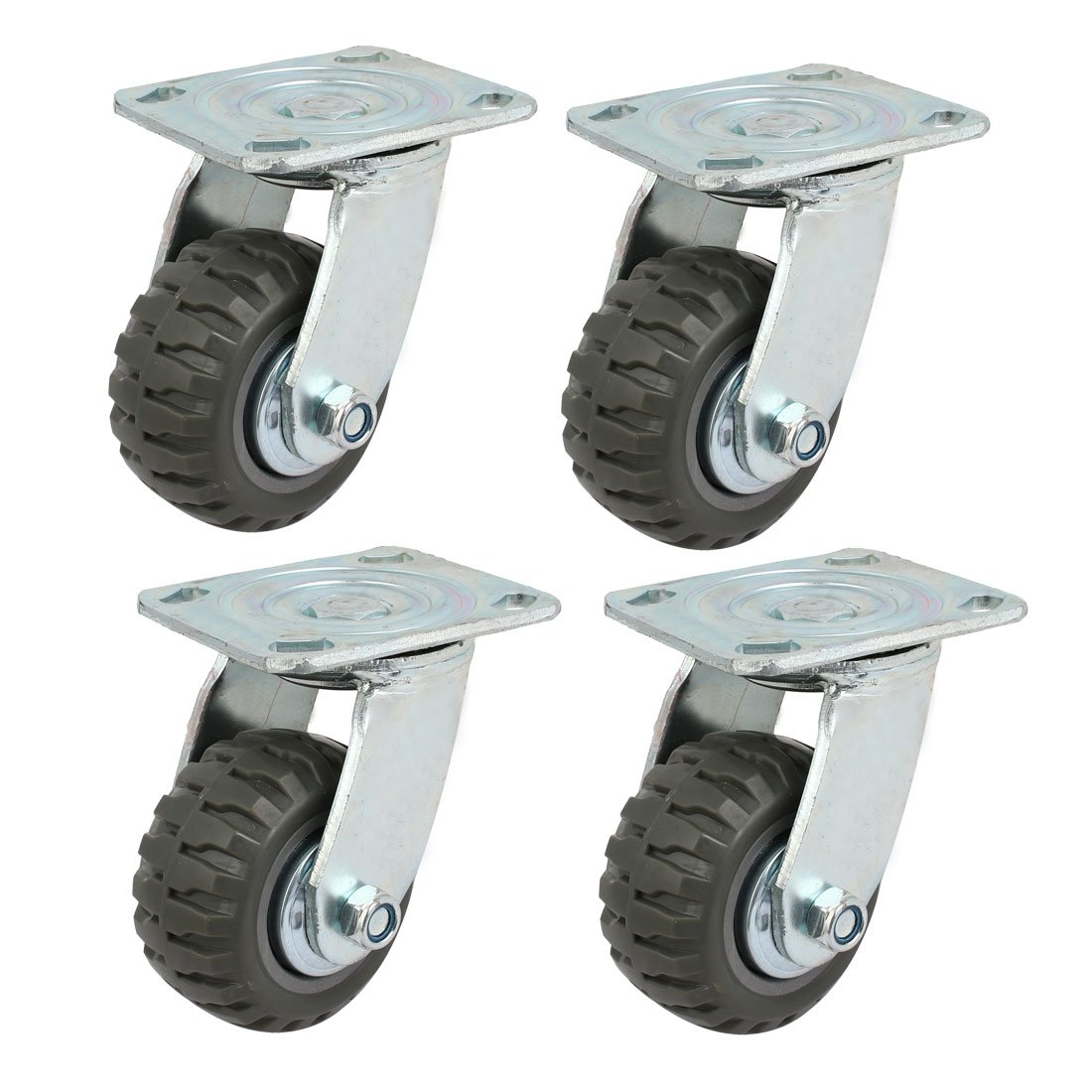 uxcell 4-inch Diameter Single Wheel Swiveling Top Plate Industrial Caster Roller 4pcs