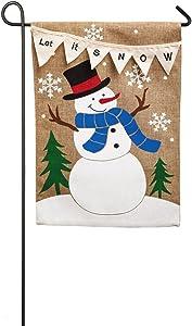 Evergreen Flag Let it Snow Double Sided Burlap Garden Flag
