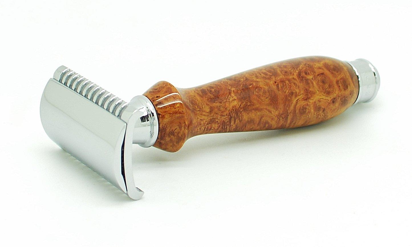 ORCHID ISLE~Double Edge Safety Razor *Open Comb* DE-PRL~USA Handmade with~ Exhibition Grade Southeast Asian Maidou Amboyna Eye Burl *869