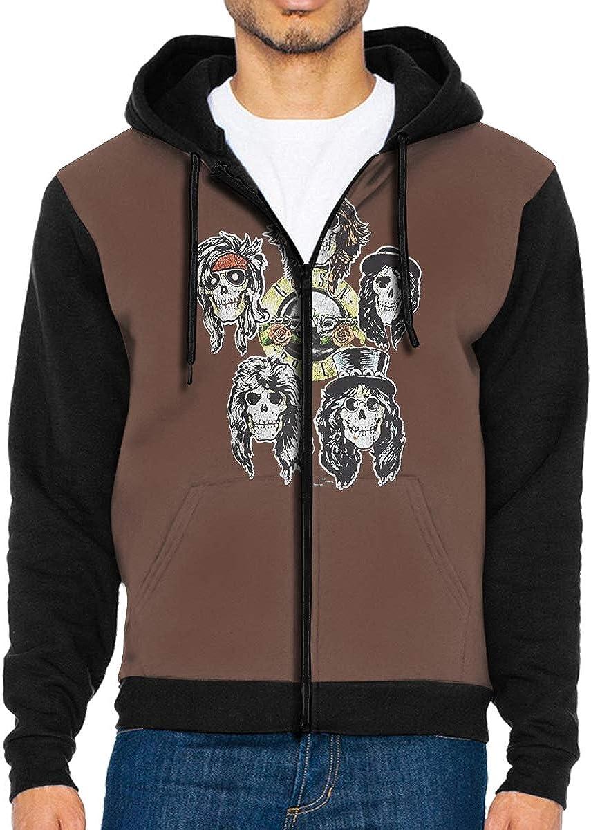 AIDANHAR Cool Mens Guns N Roses Los Angeles Hooded Pocket Zipper Hoodie Black