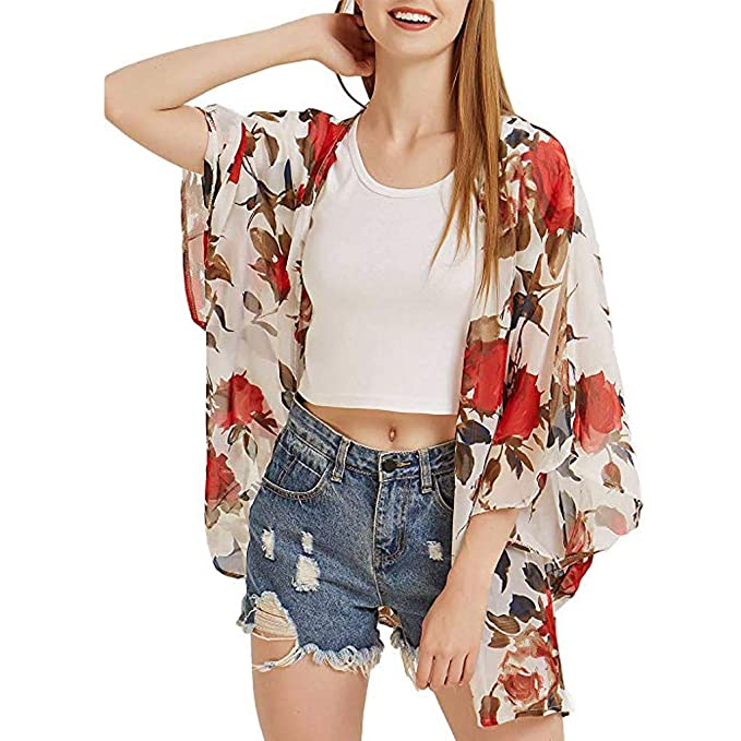 Amazon.com: MOSERIAN Fashion Womens Chiffon Printing Cardigan Smock Easy Blouse Tops: Clothing