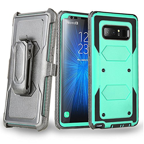- Galaxy Note 8 Case, Telegaming Heavy Duty Hybrid Rugged Case with LCD Screen Protector + Belt Swivel Clip Holster Kickstand Shock Absorption Durable Cover for Samsung Galaxy Note 8 Teal
