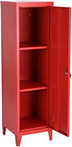 HouseinBox Office File Storage Metal Cabinet 3 Door Cupboard Locker Organizer Console Stand 3-in-1 (RED-Standing Locker)
