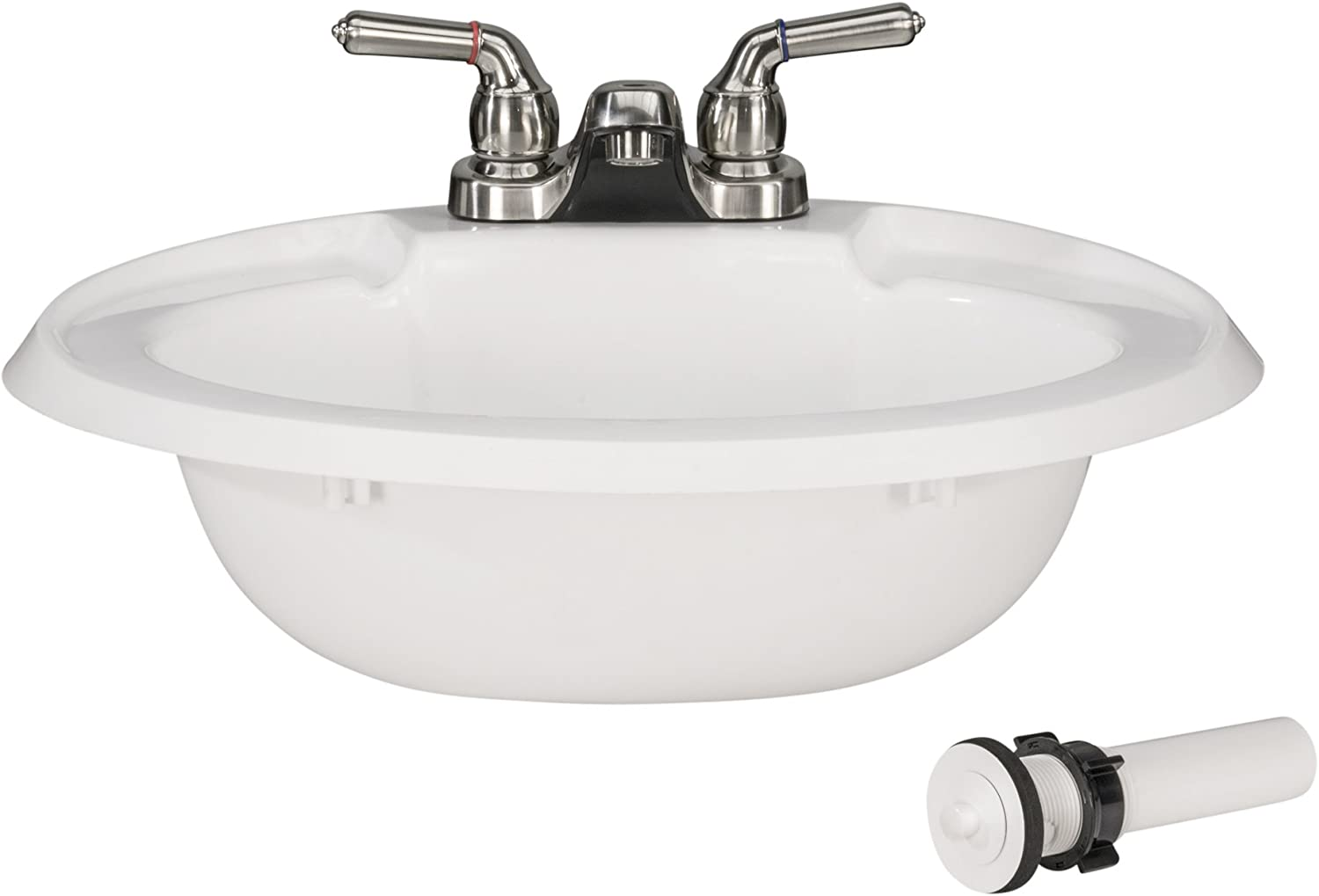 Amazon Com Recpro Oval Rv Bathroom Sink W Drain Stopper And Brushed Nickel Teapot Faucet White Single Bowl Lavatory Sink Camper Sink 20x17 Plastic Automotive