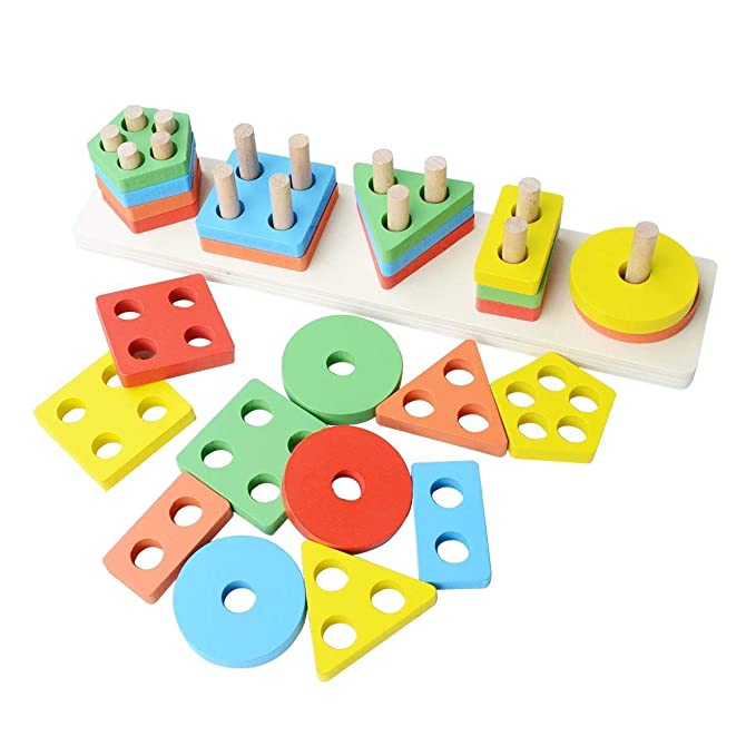 Toyshine Wooden Angle Geometric Blocks Building Stacker Shape Sorter Column Puzzle Stacking Set for Kids - 2