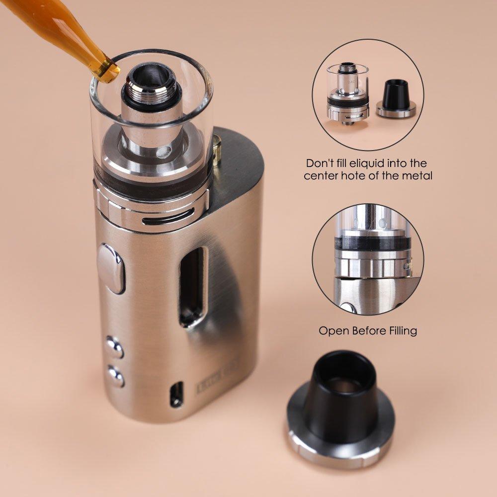 Mini Cigarrillos electrónicos, JOMO TECH 60W TC Box Mod OLED Pantalla Control de Temperatura Kit de E-Cigarrillo 0,5oHm/ 2mL Atomizador, Sin Nicotina y Sin ...