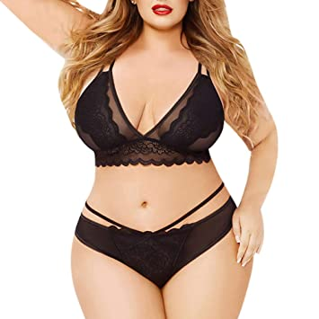 8a74653bd44 Gyswshh Sexy Underwear Set,Erotic Underwear,Plus Size Thin Transparent Lace Push  Up Bra