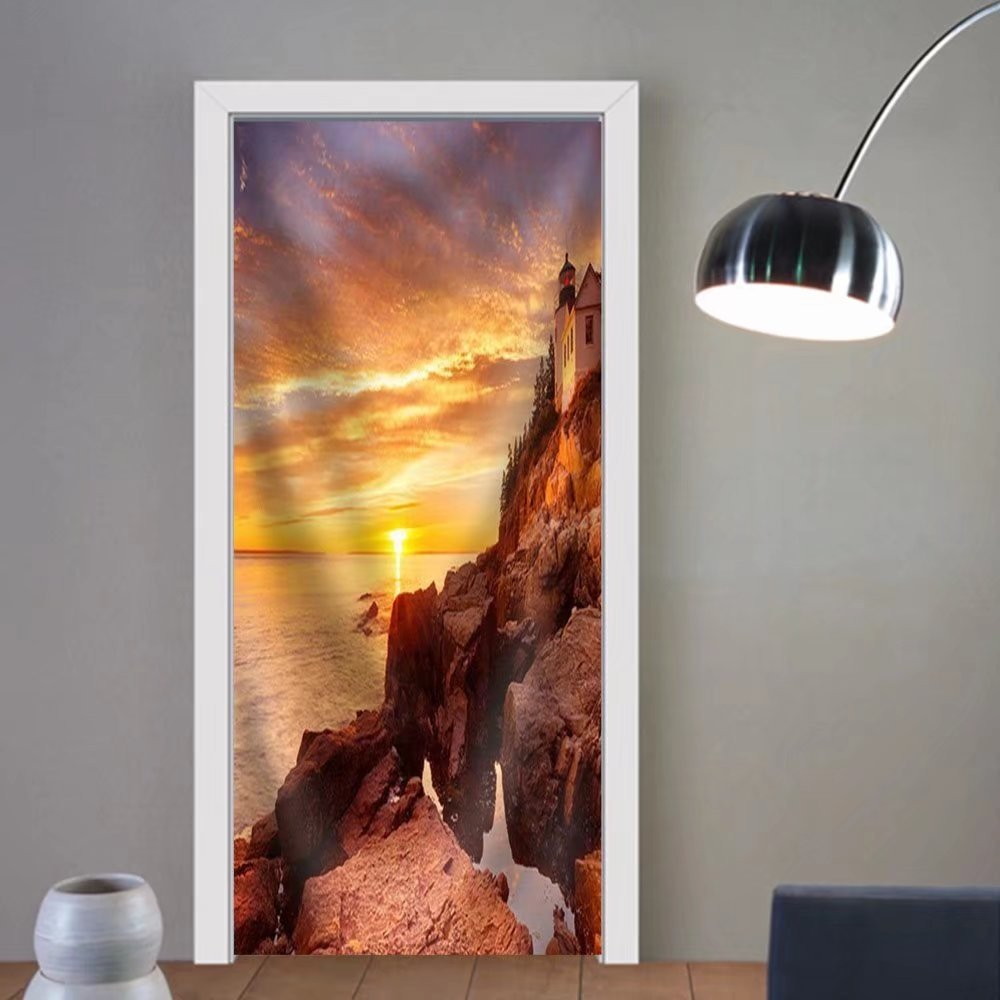 Niasjnfu Chen custom made 3d door stickers the Bass Harbor Head Lighthouse in Acadia National Park Maine Usa. Photographed During a Spectacular Sunset. Fabric Home Decor For Room Decor 30x79