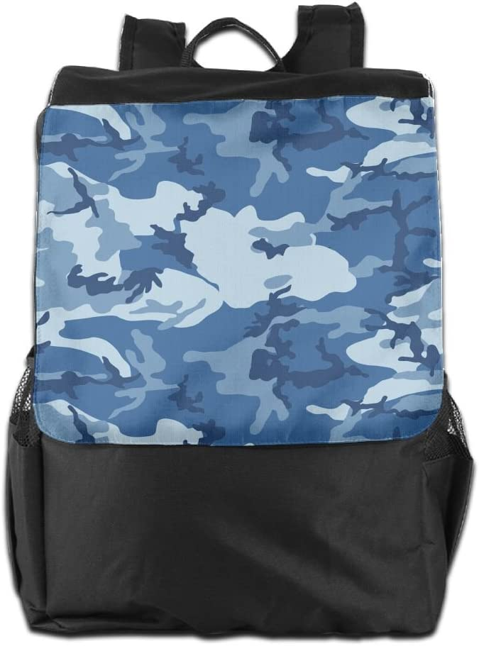 Coototo Blue Camouflage Unisex High-capacity Canvas Double-zipper Travel Bag School Bag Backpack Shoulders Bag For Men Women Student Teen