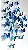 Lot de 12 stickers muraux de Papillons 3D (Bleu)