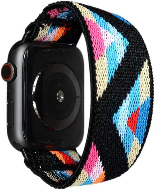 Tefeca Chevron Pattern Elastic Compatible/Replacement Band for Apple Watch 42mm/44mm (Black Adapters, L fits Wrist Size : 7.0-7.5 inch)