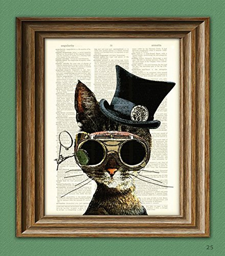 Steampunk Art Print Clockwork Kitty Cat
