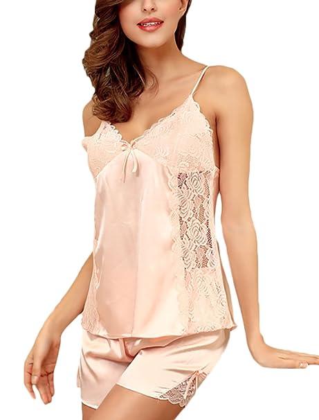 Pijamas Mujer Verano Cortas Camison Camisones Sleepwear Elegante Lace Sin Mangas V Cuello Tops+Shorts